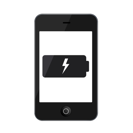 cell charger: Vector modern smartphone isolated on white