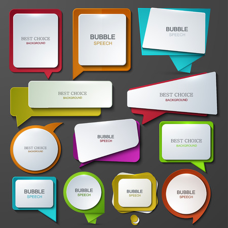 Vector modern bubble speech icons set. Vettoriali