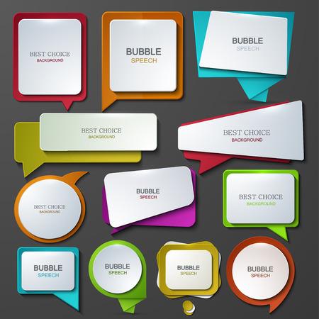 Vector modern bubble speech icons set. Vectores