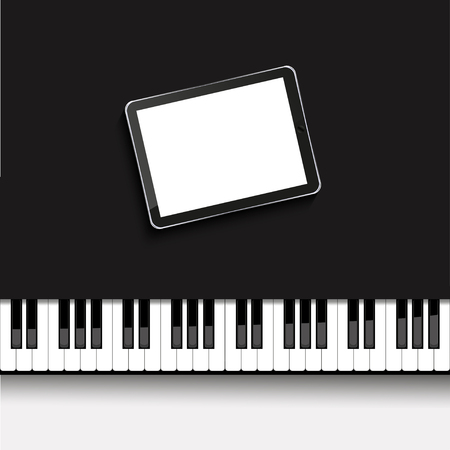 Vector modern computer tablet on piano. Musical background. Eps10 Vector
