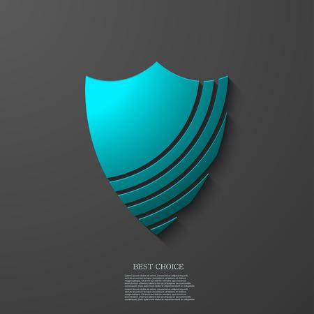 shiny shield: Vector modern shield icon on gray background