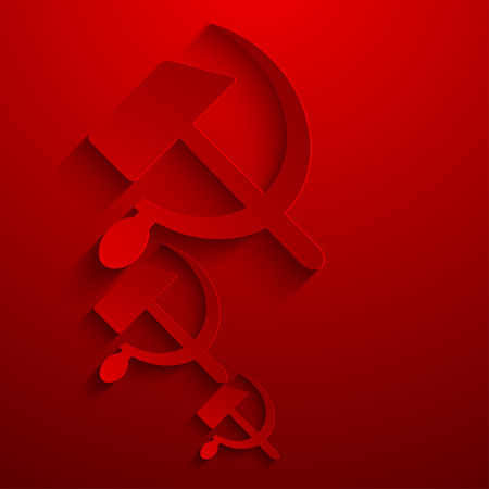 hammer and sickle: modern sickle and hammer symbol background.