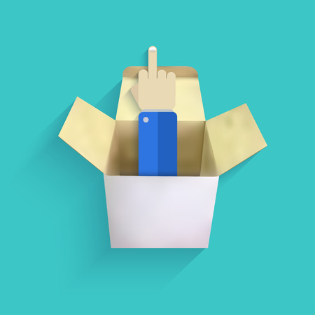 antisocial: vector modern finger up with box Illustration