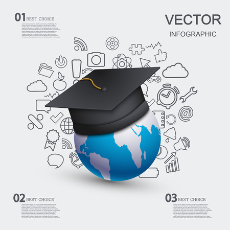 vector modern education infographic background. Vector