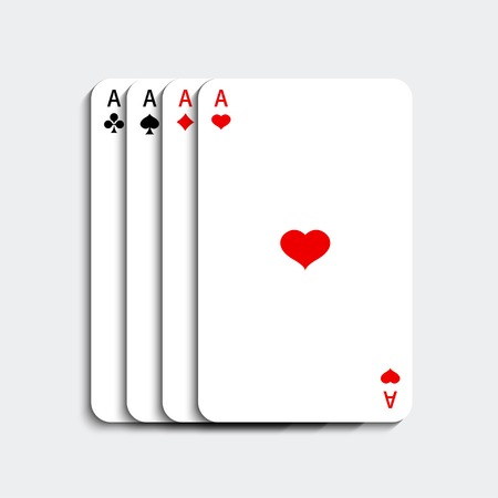 ace: Vector ace playing card set on gray background