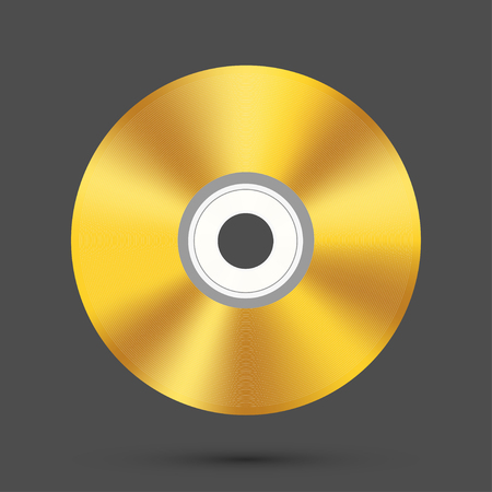 gold record: Vector modern disc on gray background Illustration