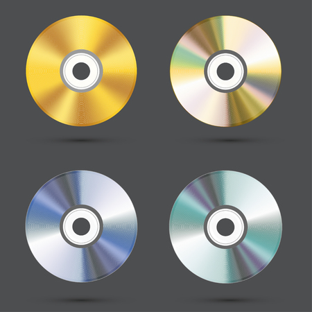 gold record: vector modern cd icons set