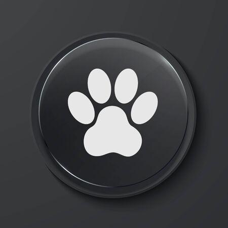 animal tracks: Vector Animal Tracks cerchio moderna icona di vetro nero. Eps10 Vettoriali