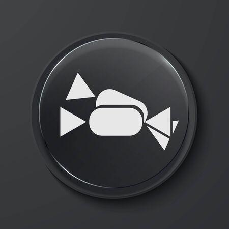 sweetmeats: Vector de caramelo moderno icono del c�rculo de cristal negro. Eps10