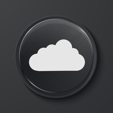 Vector cloud modern black glass circle icon. Eps10 Vector