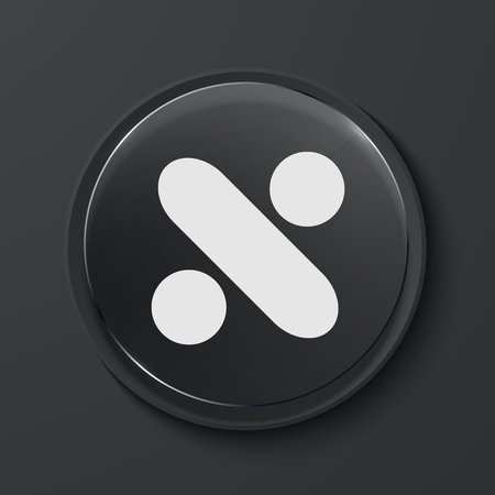 mathematical operation: Vector division modern black glass circle icon. Eps10