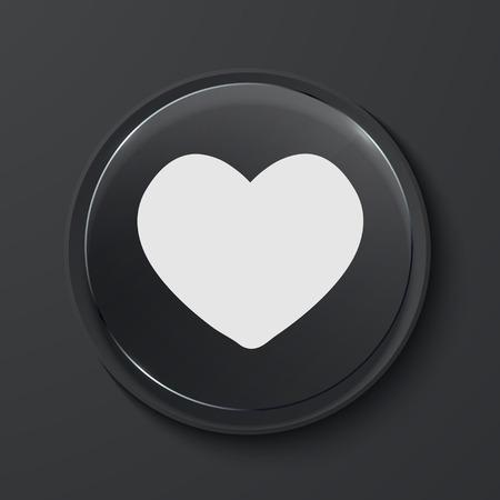 Vector heart modern black glass circle icon. Eps10