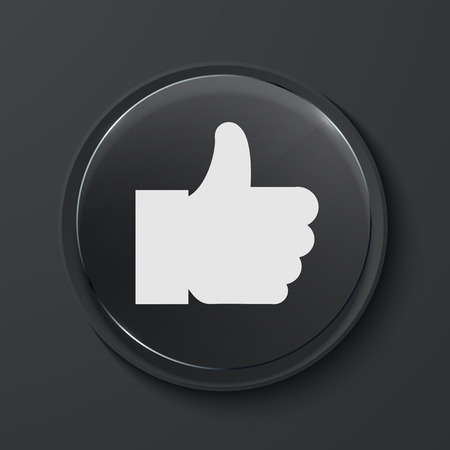decline in values: Vector like modern black glass circle icon. Eps10