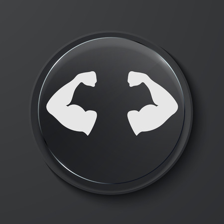 male model torso: Vector muscle modern black glass circle icon. Eps10