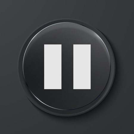 Vector pause modern black glass circle icon. Eps10 Vector