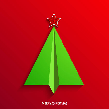 vector concept christmas tree and origami airplane.