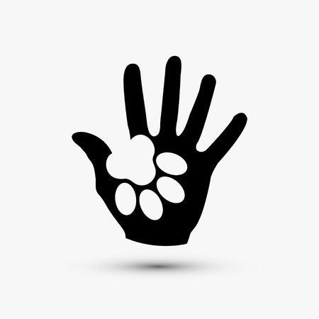 dog track: Vector modern paw hold hand black icon on white background Illustration