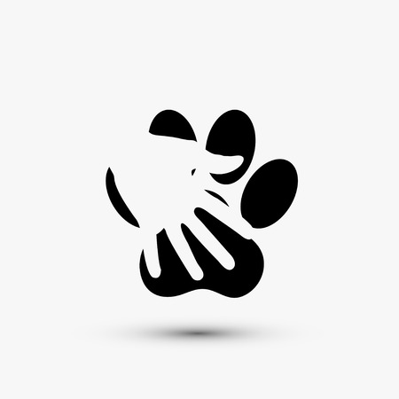 Vector modern paw hold hand black icon on white background Stock Illustratie