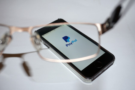 paypal: Samara, Russia - February 15, 2015: PayPal app open in the mobile phone Iphone 5s. Apple Corporation main direction rapidly developing market of smartphones. PayPal free application in app store