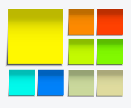 벡터 현대 사각 스티커 메모 흰색으로 설정 일러스트