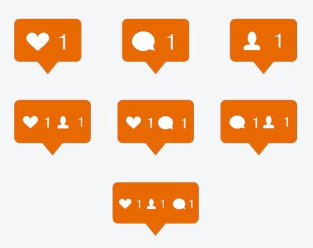 design media love: vector modern like orange icon Illustration