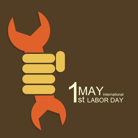 jornada de trabajo: Vector moderno 01 de mayo D�a Internacional del Trabajo