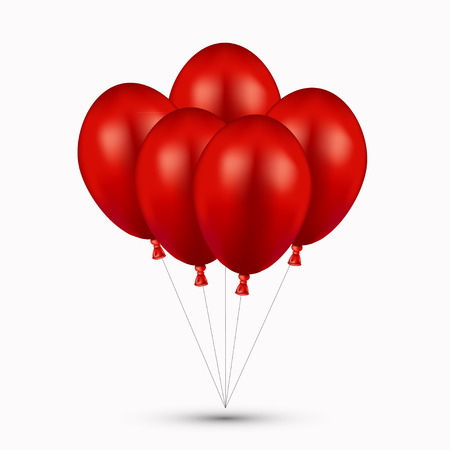 red balloons: Vector modern red balloons on white