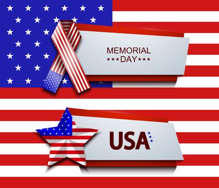 Vector modern memorial day banners