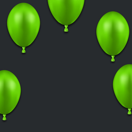 green balloons: Vector modern green balloons on black