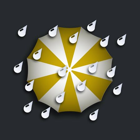 yellow umbrella: vector modern yellow umbrella with drops