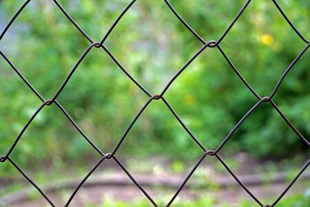 metal wire: Fence of metal wire Stock Photo