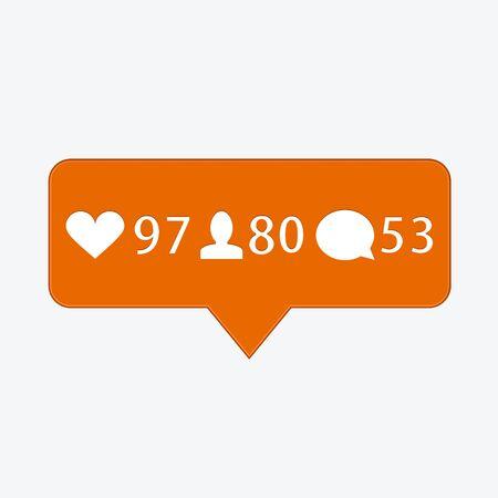 follower: vector modern like, follower, comment icons