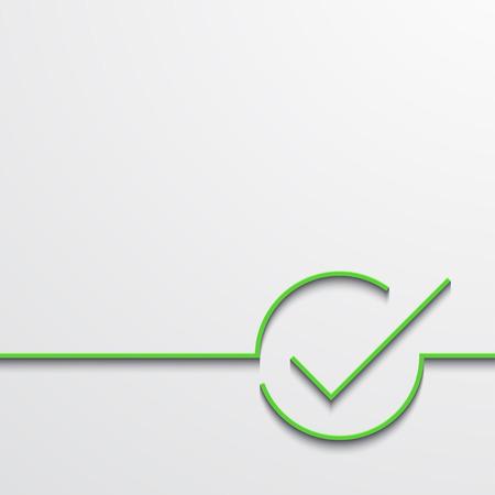 Vector moderne groene vinkje op zwart