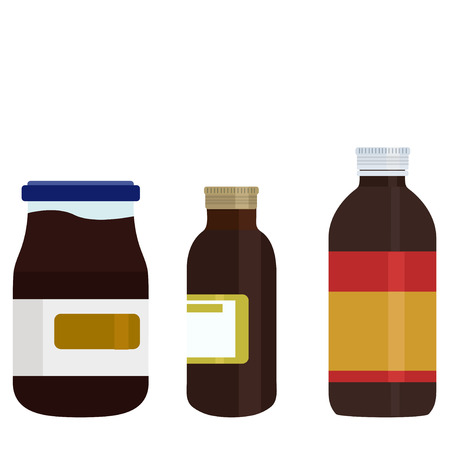 group therapy: Vector modern medicine bottles set