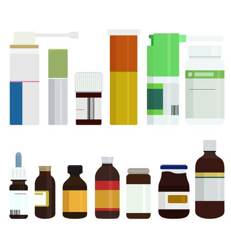 inhalacion: Vectoriales botellas de medicina moderna fijaron