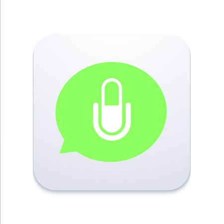 glossary: Vector modern microphone icon in  bubble speech Illustration