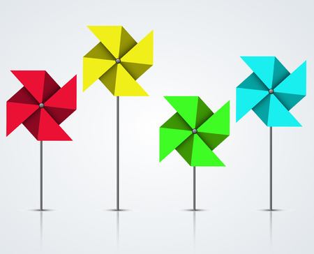 windmill toy: Vector modern colorful windmill set