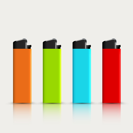 encendedores: vector set of colorful lighters with reflection