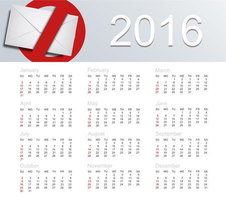 Vector calendar for 2016 year of the monkey Illustration
