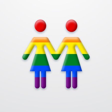 homosexual sex: Vector modern lesbian two women on white background. type of sexual minorities