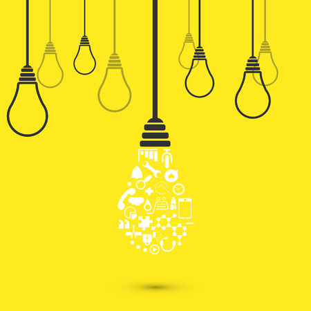 bright ideas: Vector modern light bulb background. Idea design Illustration