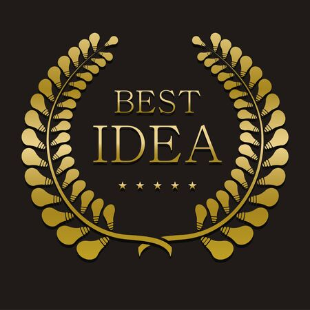 best idea: vector gold laurel wreath with sample text. best idea Illustration