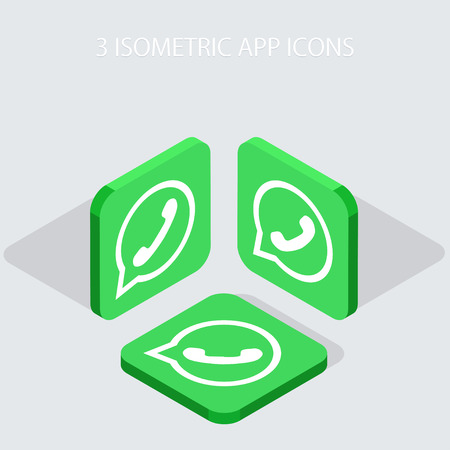 Vector modern 3 isometric telephone app icons with shadowson gray background