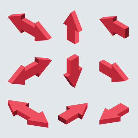 Vector moders set of isometric arrows on gray background 일러스트