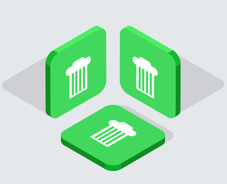 scrunch: Vector modern 3 isometric bin app icons with shadows on gray background