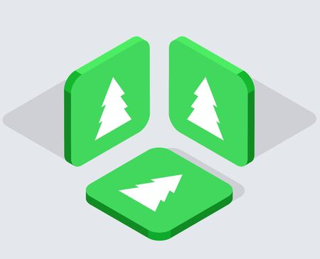 christmass tree: Vector modern 3 isometric  app icons with shadows on gray background Illustration