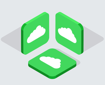 synchronization: Vector modern 3 isometric cloud app icons with shadows on gray background