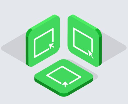 mouse pad: Vector modern 3 isometric  app icons with shadows on gray background Illustration