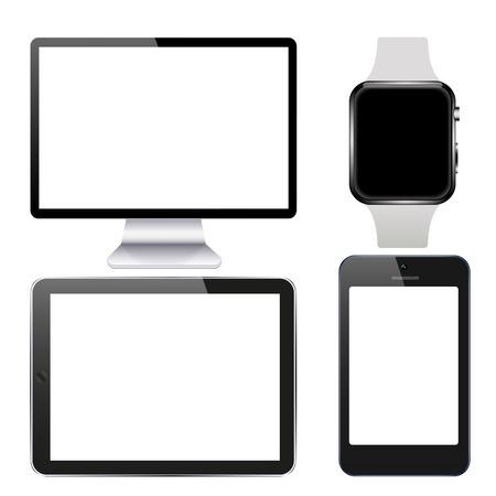 gadget: modern technology gadget set on white background