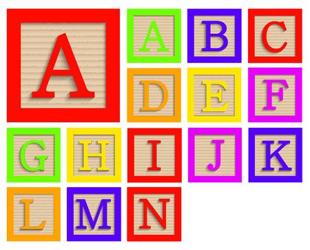 modern wooden alphabet blocks set on white background